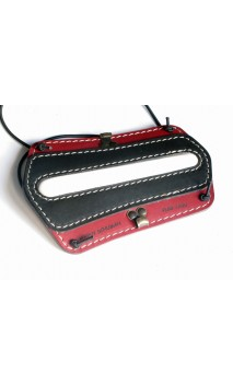 Protège bras en cuir de couleur rouge et noir VLBBTAB