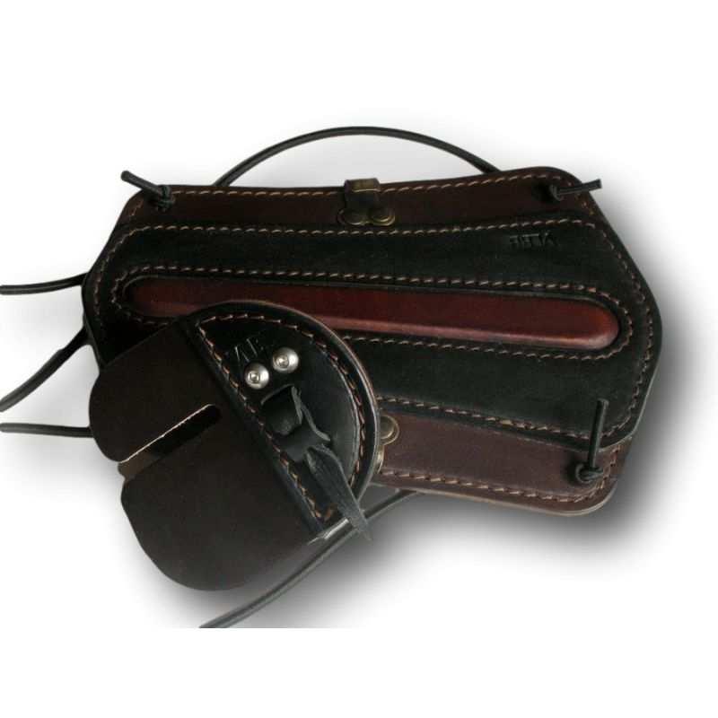 Protege de cuero marrón y negro brazo VLBBTAB - ARQUERÍA DE ULYSSE - ULISES CON ARCO
